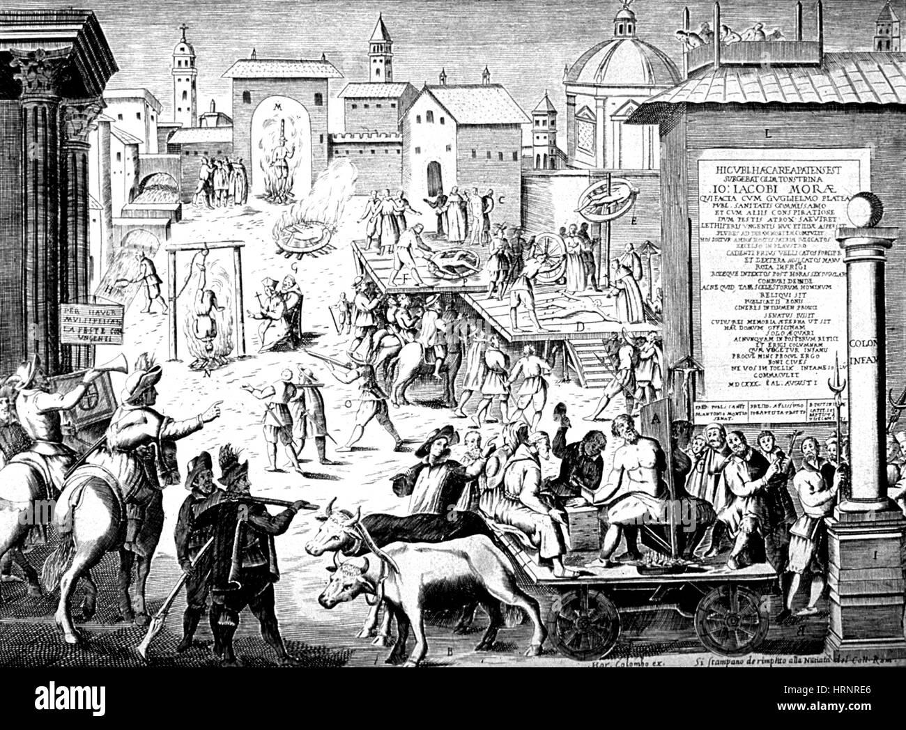 La tortura e le esecuzioni, 1630 Immagini Stock
