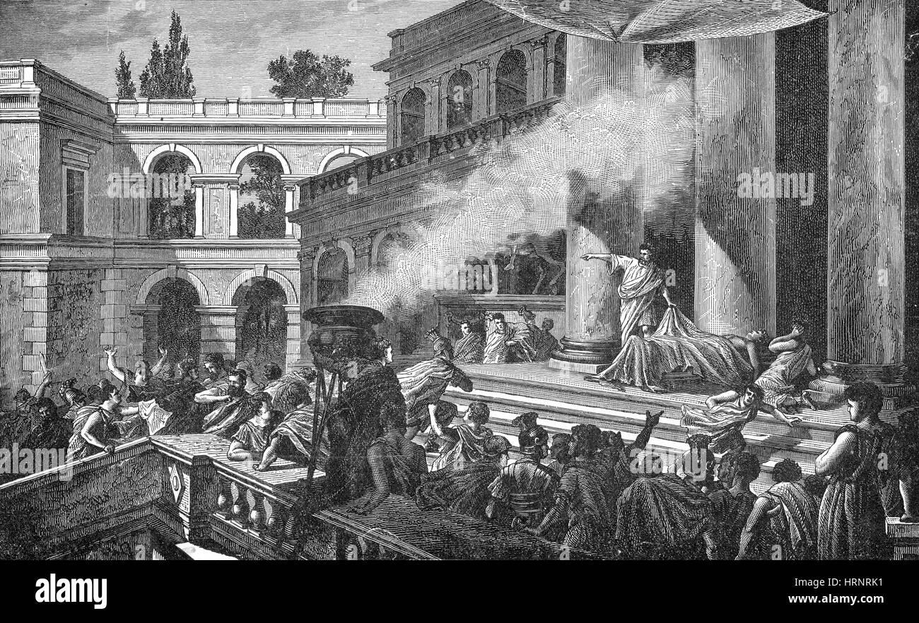 Marc Antony al funerale di Giulio Cesare, 44 A.C. Immagini Stock