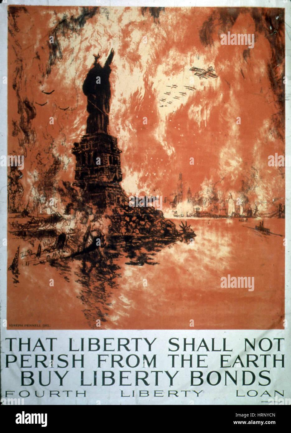 La prima guerra mondiale, quarta libertà Bond Drive, 1918 Immagini Stock