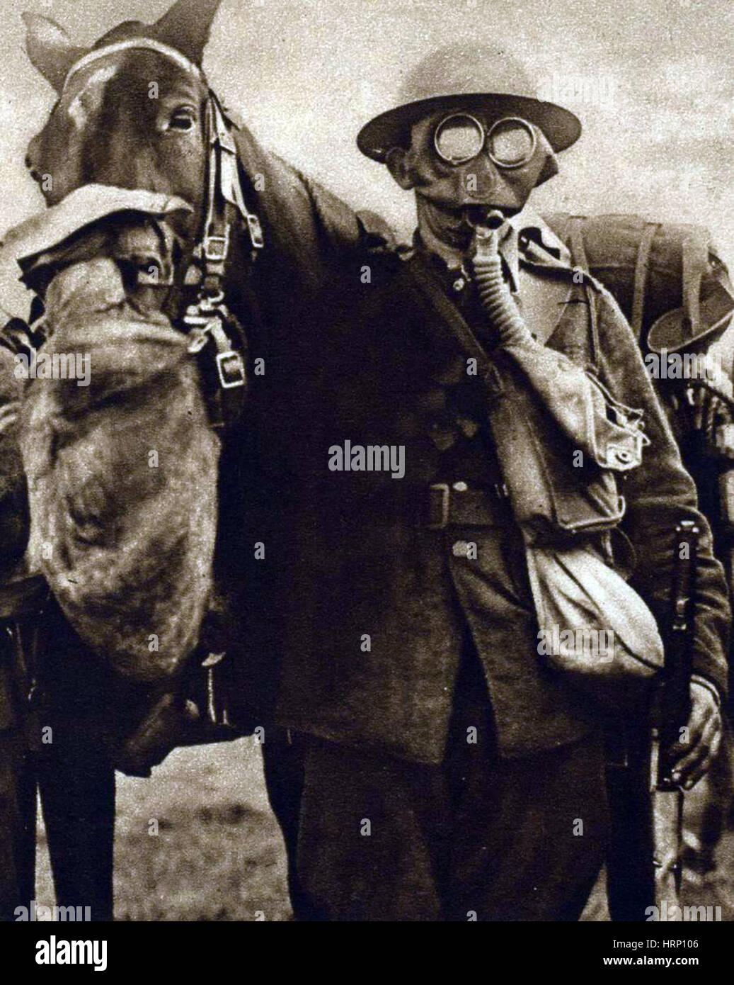 La Prima Guerra Mondiale Maschere Antigas Sul Soldato
