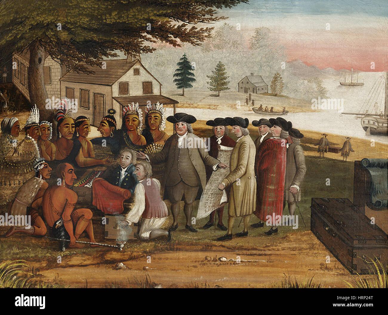 William Penn trattato con gli indiani, 1683 Immagini Stock