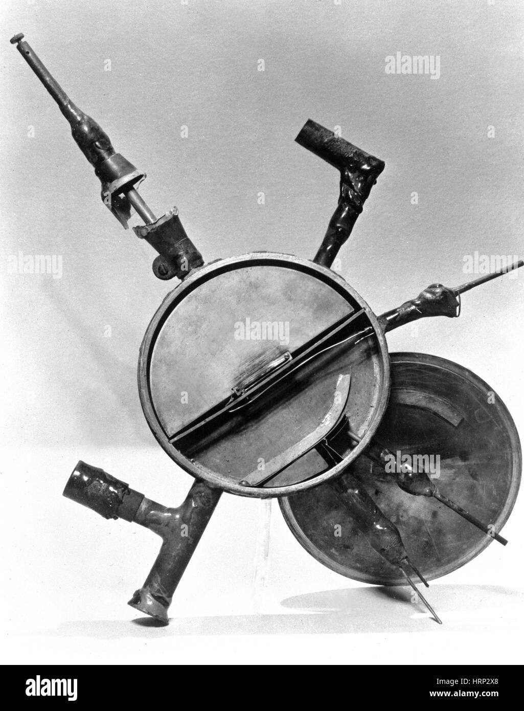 Ernest Lawrence del primo ciclotrone, 1930 Immagini Stock