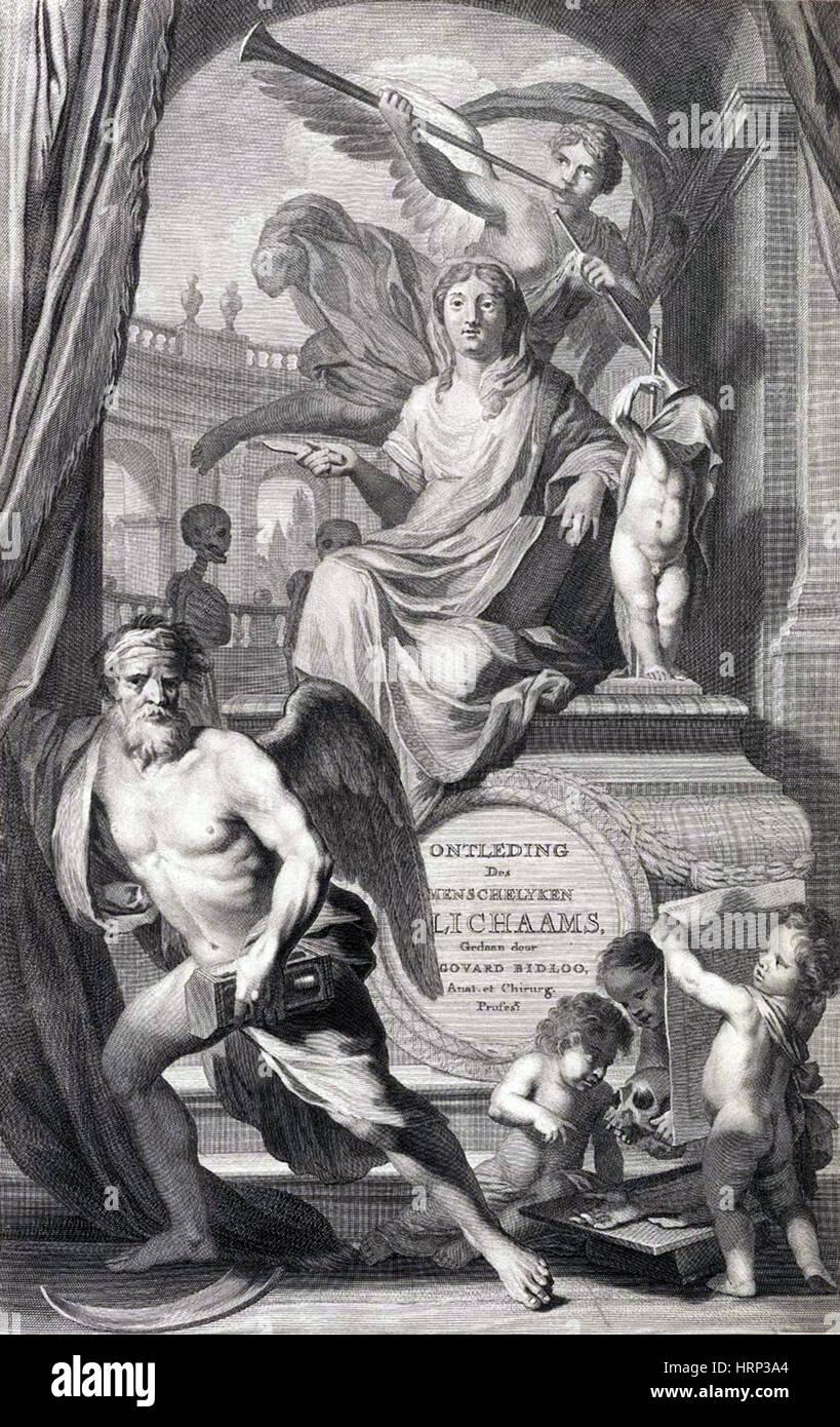 Anatomia humani corporis, pagina titolo, 1690 Immagini Stock
