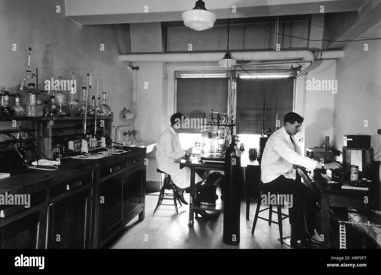 La ricerca sul cancro, 1931 Immagini Stock
