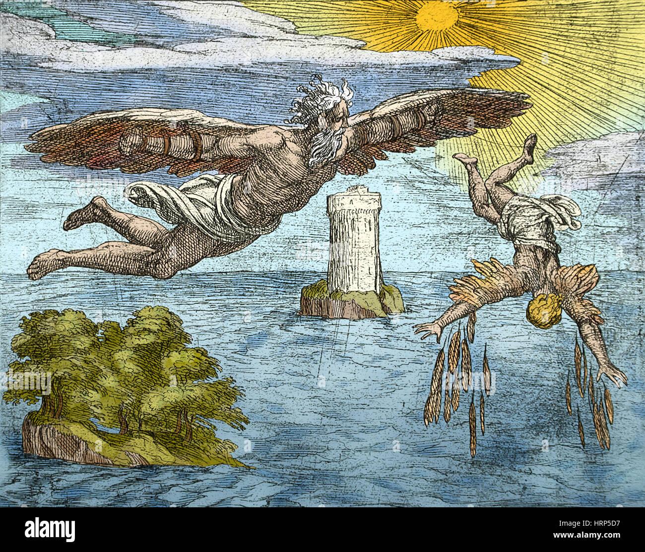 La caduta di Icaro, mitologia greca Foto Stock