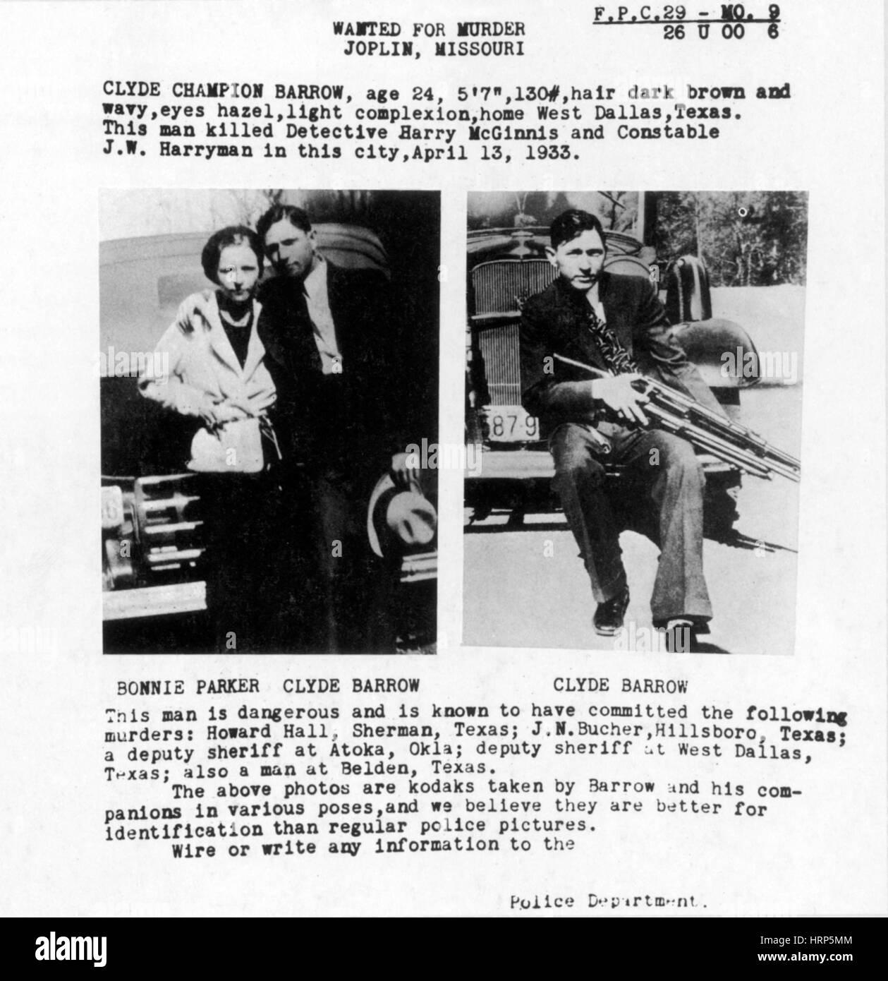 Bonnie e Clyde manifesto wanted, 1933 Immagini Stock