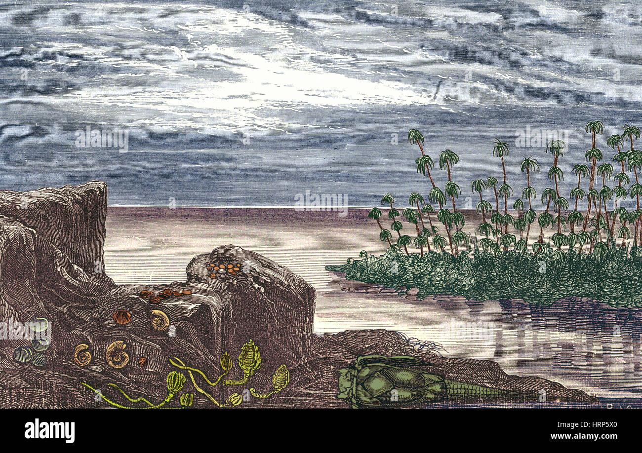 Periodo Devoniano Immagini Stock