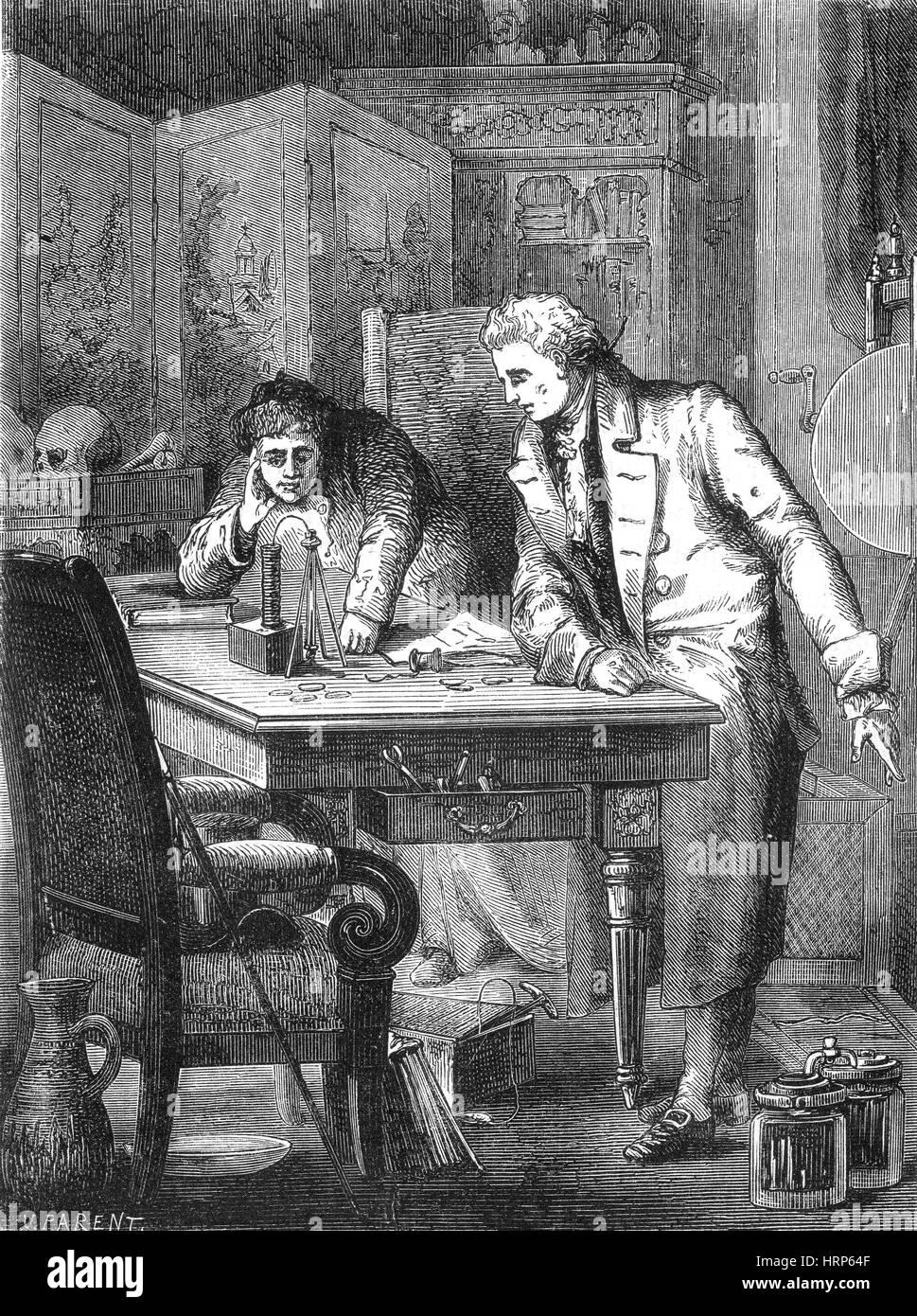 Nicholson e Carlisle scoprire l'elettrolisi, 1800 Immagini Stock
