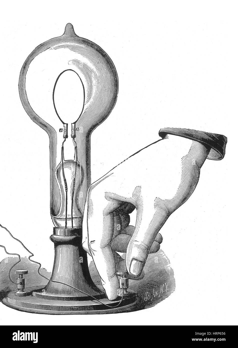 Lampadina A Incandescenza Storia thomas edison, lampada ad incandescenza, 1880 foto