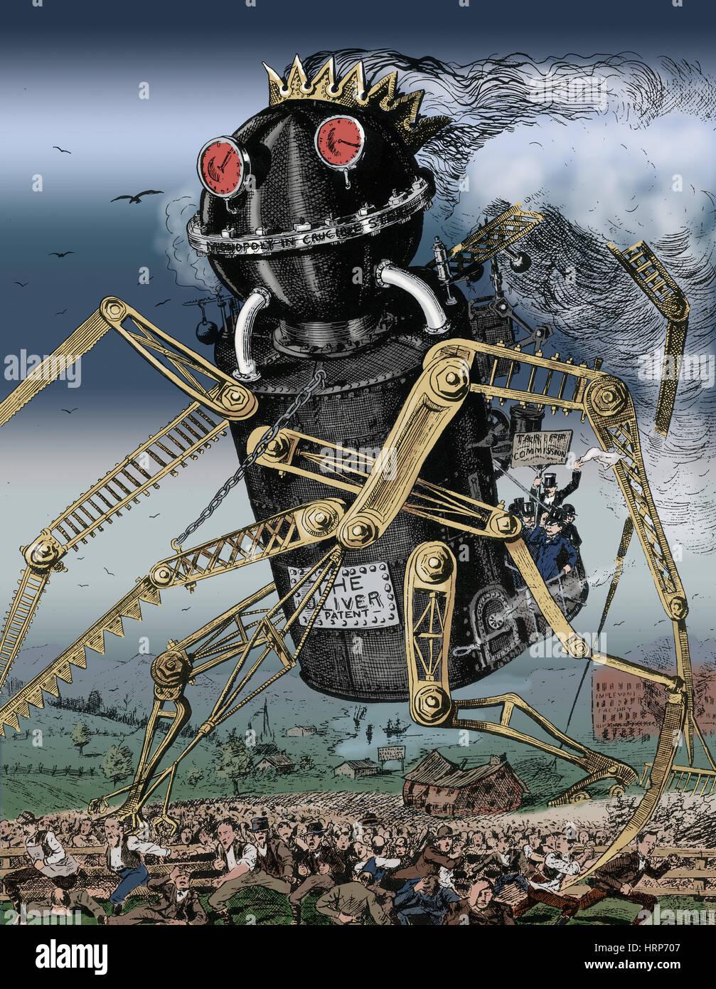 Oliver brevetto Cartoon politico, 1882 Immagini Stock