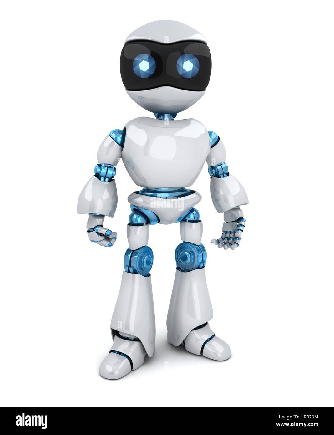 Moderno e di colore bianco solo robot. 3d illustrazione Immagini Stock
