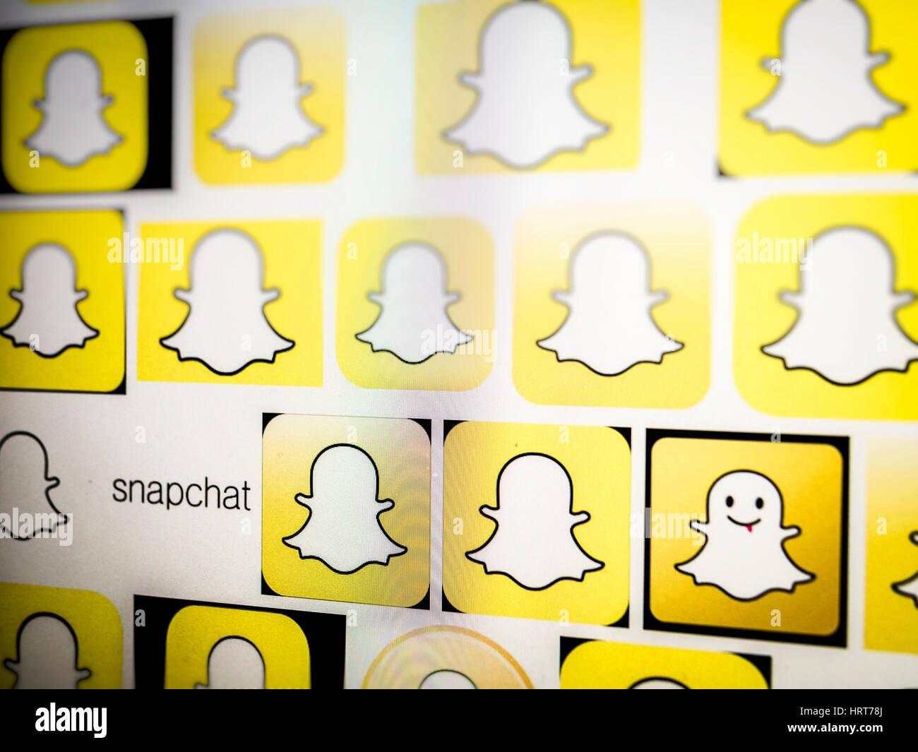 Logo Snapchat su un sito web, Snapchat è un Social Media platform lanciata per la prima volta nel 2011. Immagini Stock