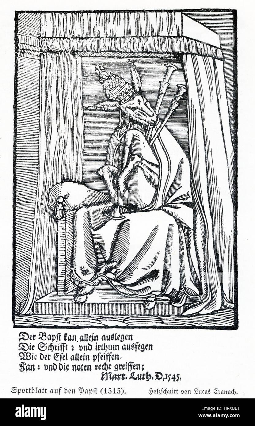 Questa illustrazione del Papa risale al 1545 ed è una copia di una xilografia tedesca di pittore rinascimentale Immagini Stock