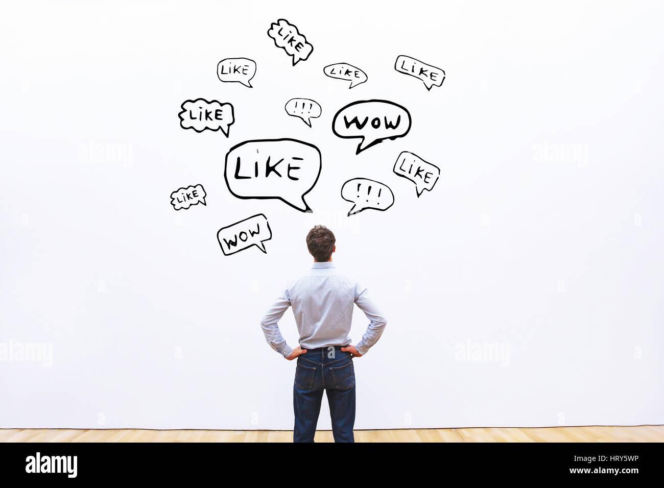 Feedback positivo concetto, ama su reti sociali Immagini Stock