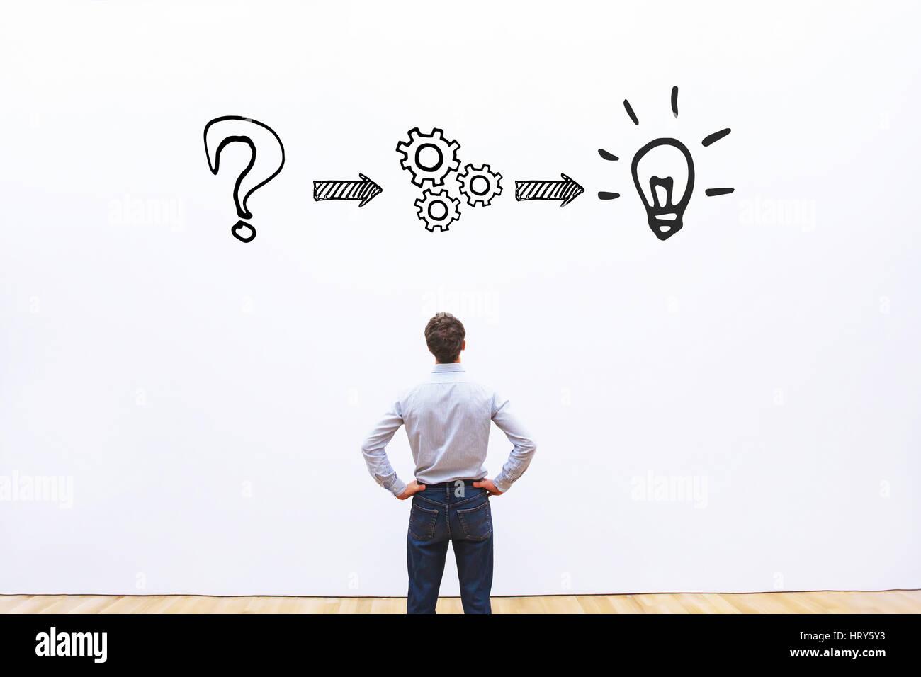 Pensando o per la risoluzione dei problemi il concetto di business Immagini Stock