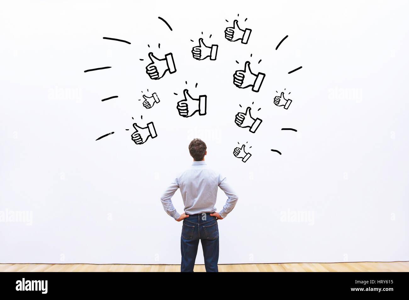 Ama su reti sociali, positivo il feedback del cliente per azienda, concetto di popolarità Immagini Stock