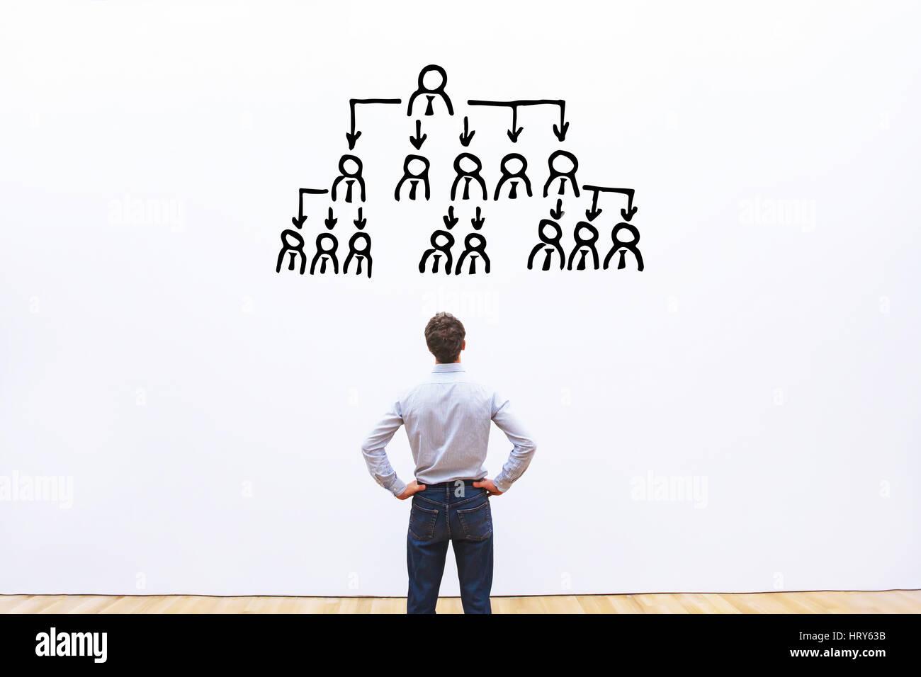 Il concetto di delega, CEO di delegare compiti ai dipendenti della società Immagini Stock