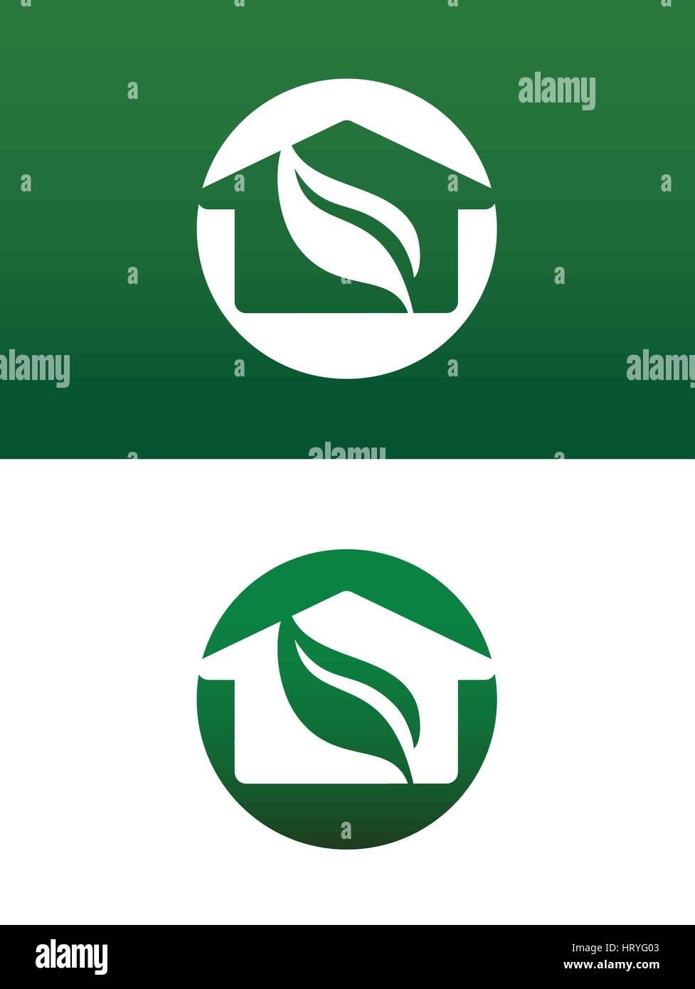Verde rotondo vettore di casa sia solido e invertito per l'ecologia, il riciclaggio, la società di servizio Immagini Stock