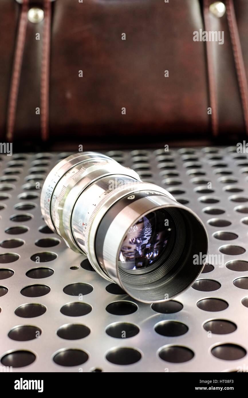 Vintage di messa a fuoco manuale fotografico lente della fotocamera SLR Immagini Stock