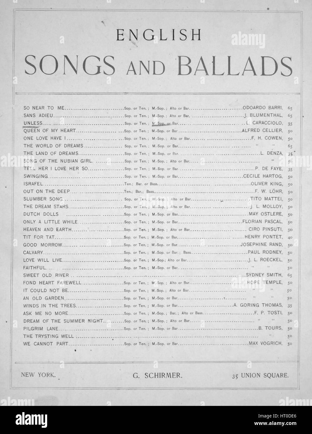 Foglio di musica immagine copertina della canzone 'Inglese