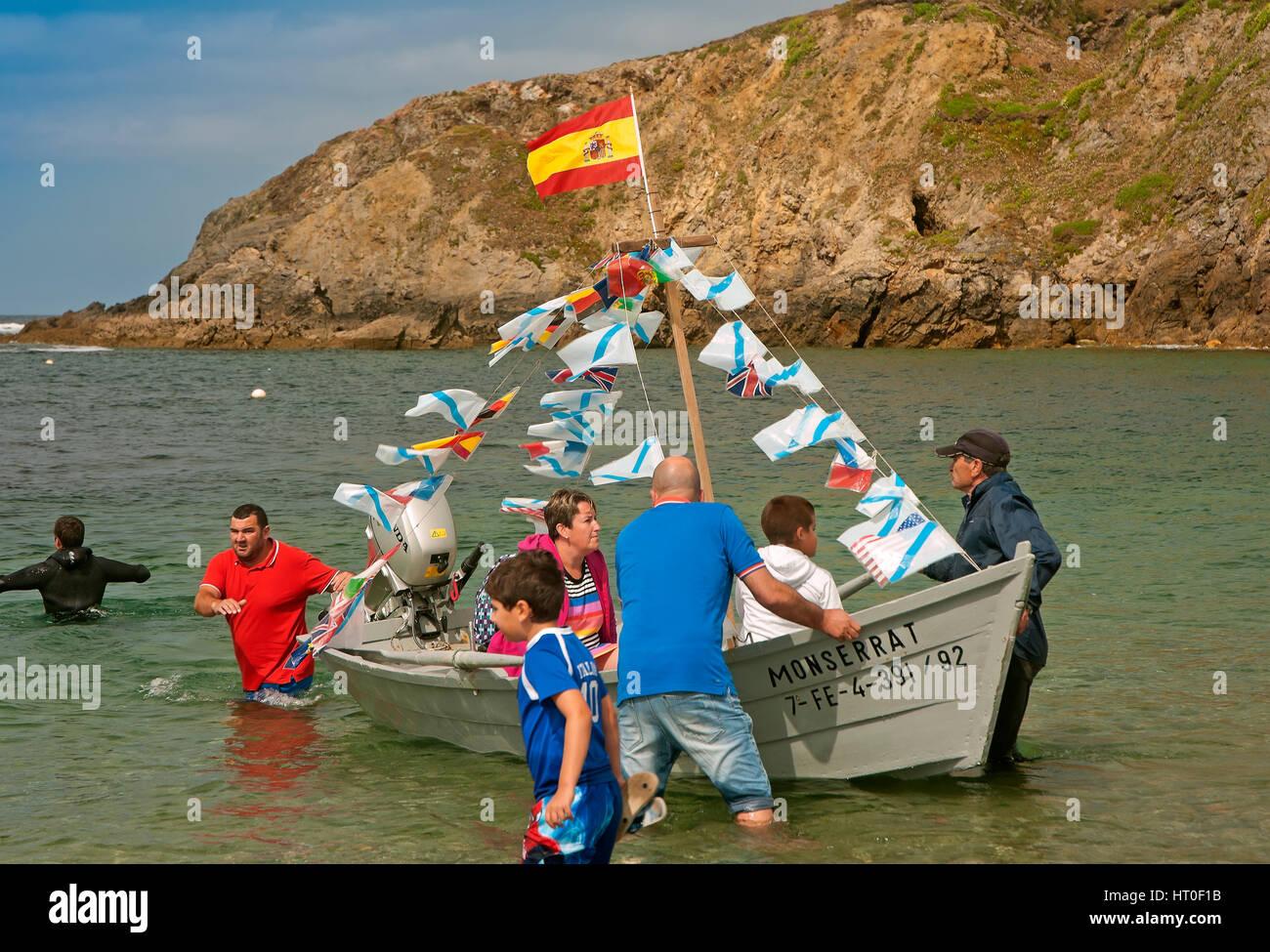 Festa del Virxe do Porto - persone, Meiras - Valdoviño, La Coruña provincia, regione della Galizia, Spagna, Immagini Stock