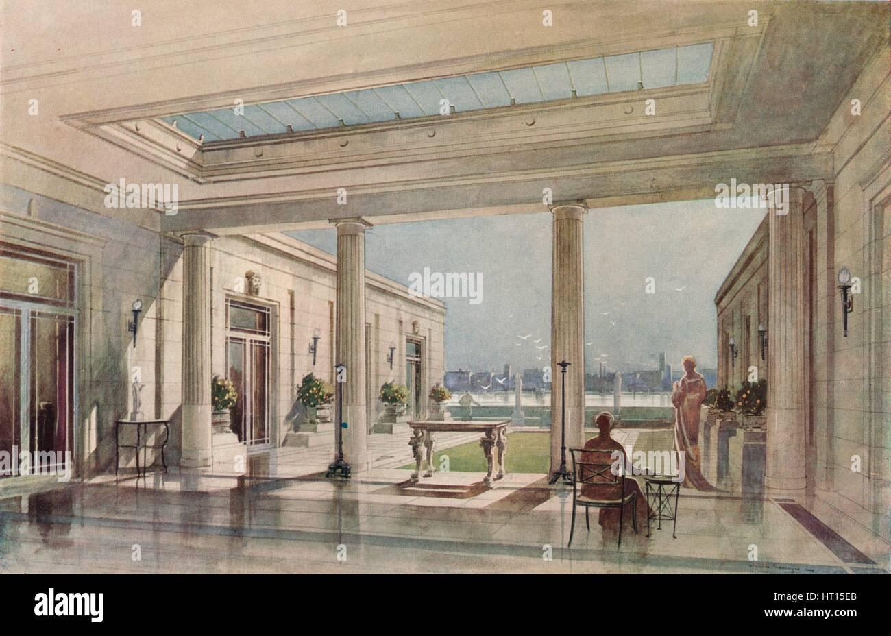 """Una casa in Grosvenor Road, Westminster (Thames Embankment). G. & A. Gilbert Scott, architetti', C19 Immagini Stock"