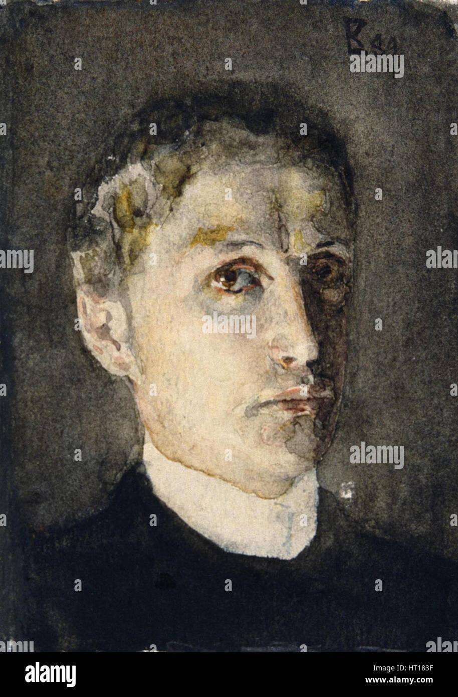 Autoritratto, 1889. Artista: Vrubel, Mikhail Alexandrovich (1856-1910) Immagini Stock