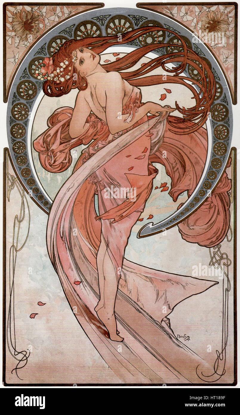 Danza (dalla serie delle Arti), 1898. Artista: Mucha, Alfons Maria (1860-1939) Foto Stock