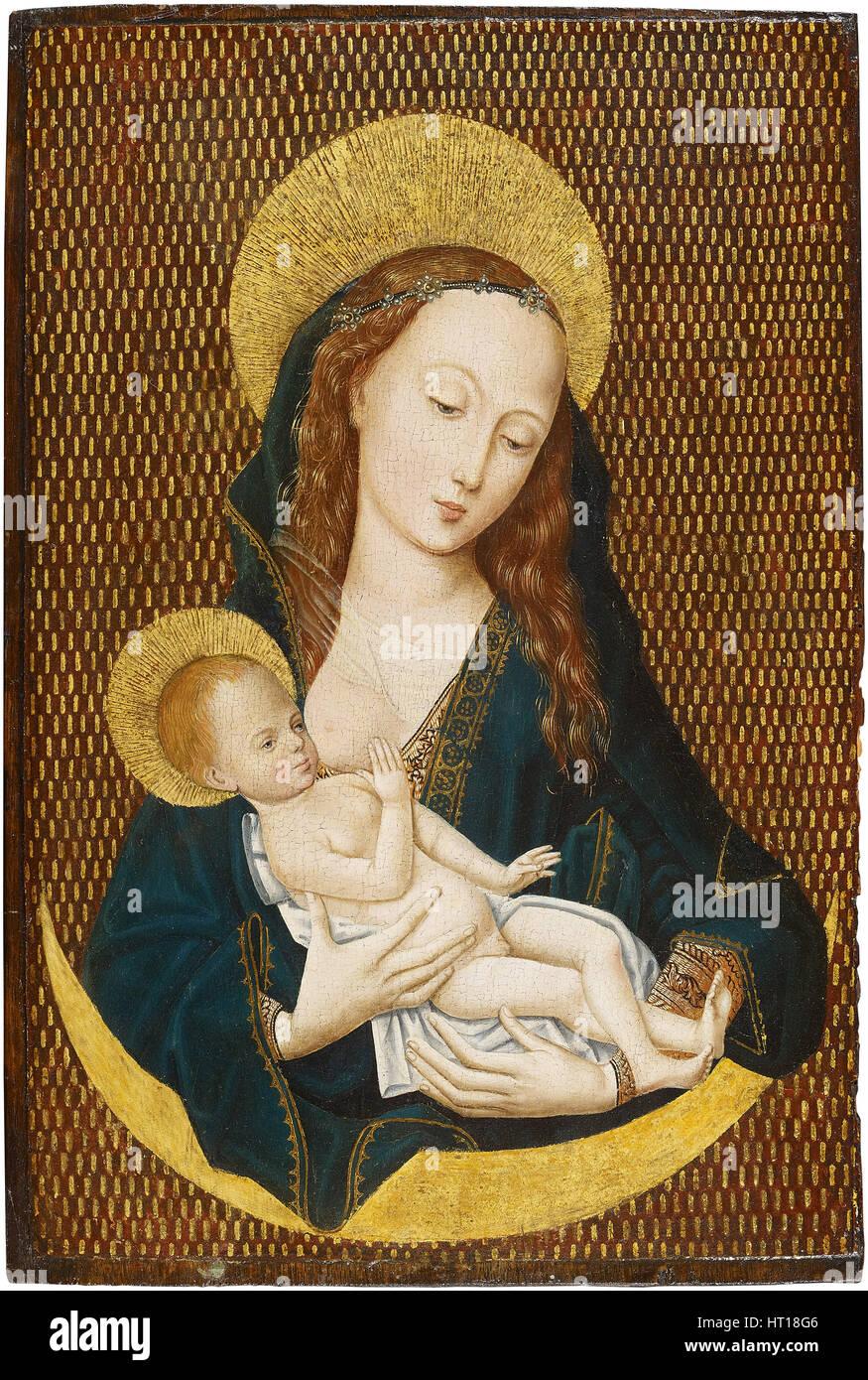 Maria lactans su una falce di luna, ca 1485. Artista: Maestro della Maddalena, legenda (officina) Immagini Stock