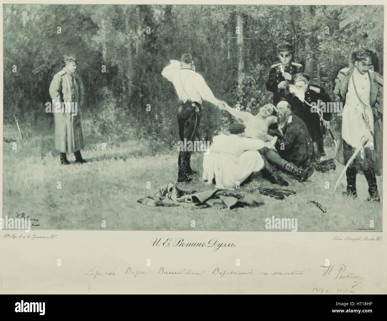 Il Duello, 1913. Artista: Repin, Ilya Yefimovich (1844-1930) Immagini Stock