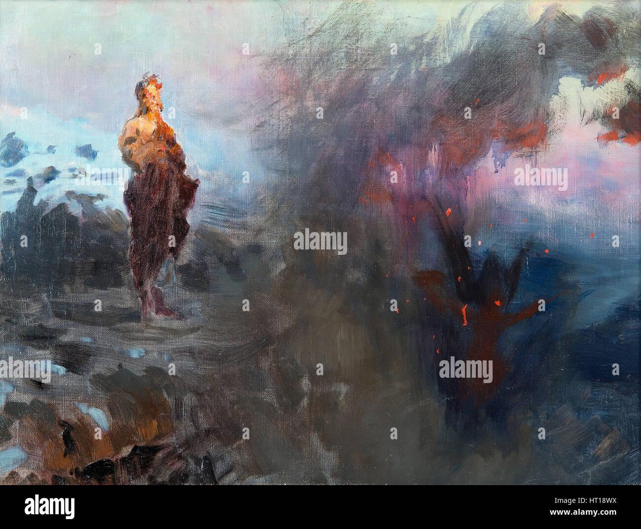 La tentazione di Cristo. Artista: Repin, Ilya Yefimovich (1844-1930) Immagini Stock