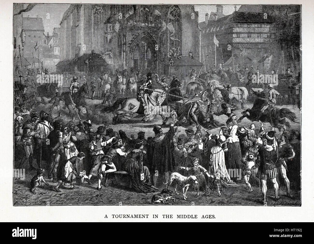 Un torneo nel Medioevo, 1882. Artista: Brend'amour, Richard (1831-1915) Immagini Stock