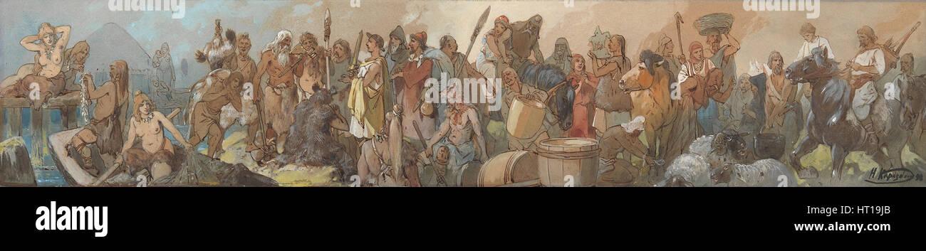 La storia del commercio, 1898. Artista: Karasin, Nikolai Nikolayevich (1842-1908) Immagini Stock