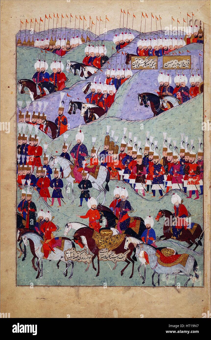 Funerali di Sultan Suleyman il magnifico. (Storia del sultano Suleyman), 1579. Artista: Anonimo Immagini Stock
