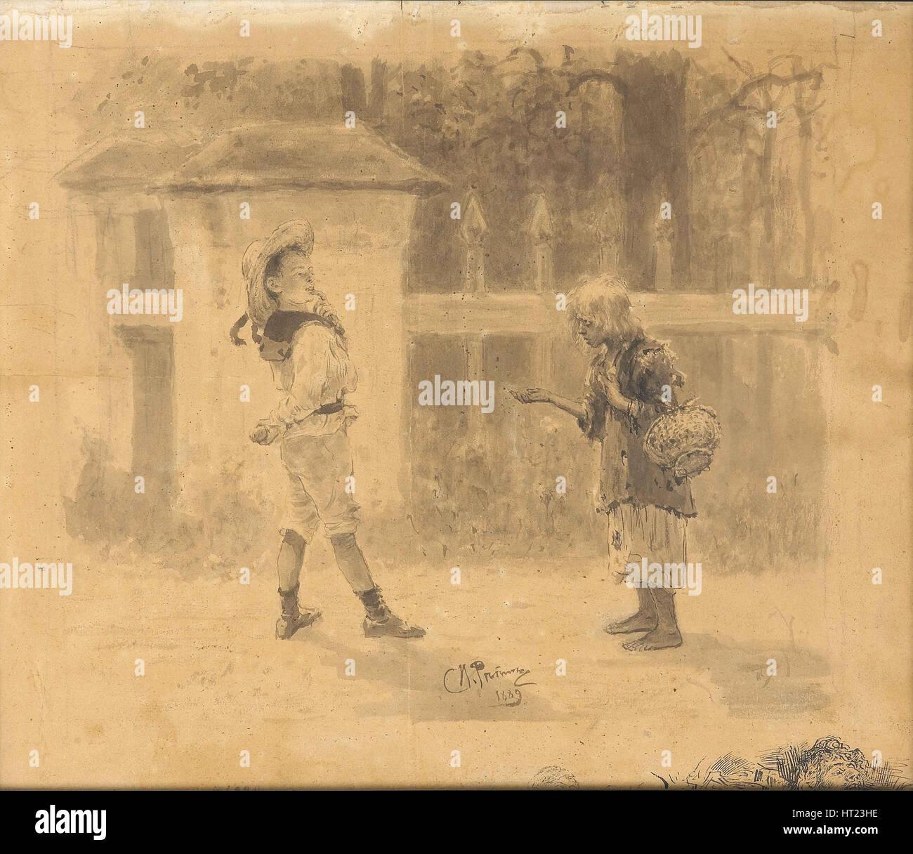 Ragazza di accattonaggio, 1889. Artista: Repin, Ilya Yefimovich (1844-1930) Immagini Stock