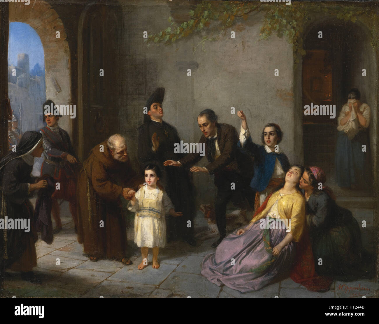Il rapimento di Edgardo Mortara, 1862. Artista: Oppenheim, Moritz Daniel (1800-1882) Immagini Stock