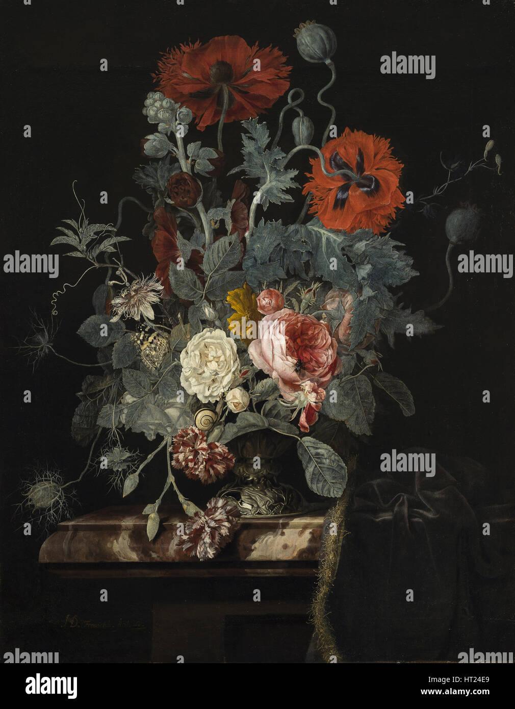 Floral still life, 1665. Artista: Fromantiou, Henri de (c. 1633/34-dopo il 1693) Immagini Stock