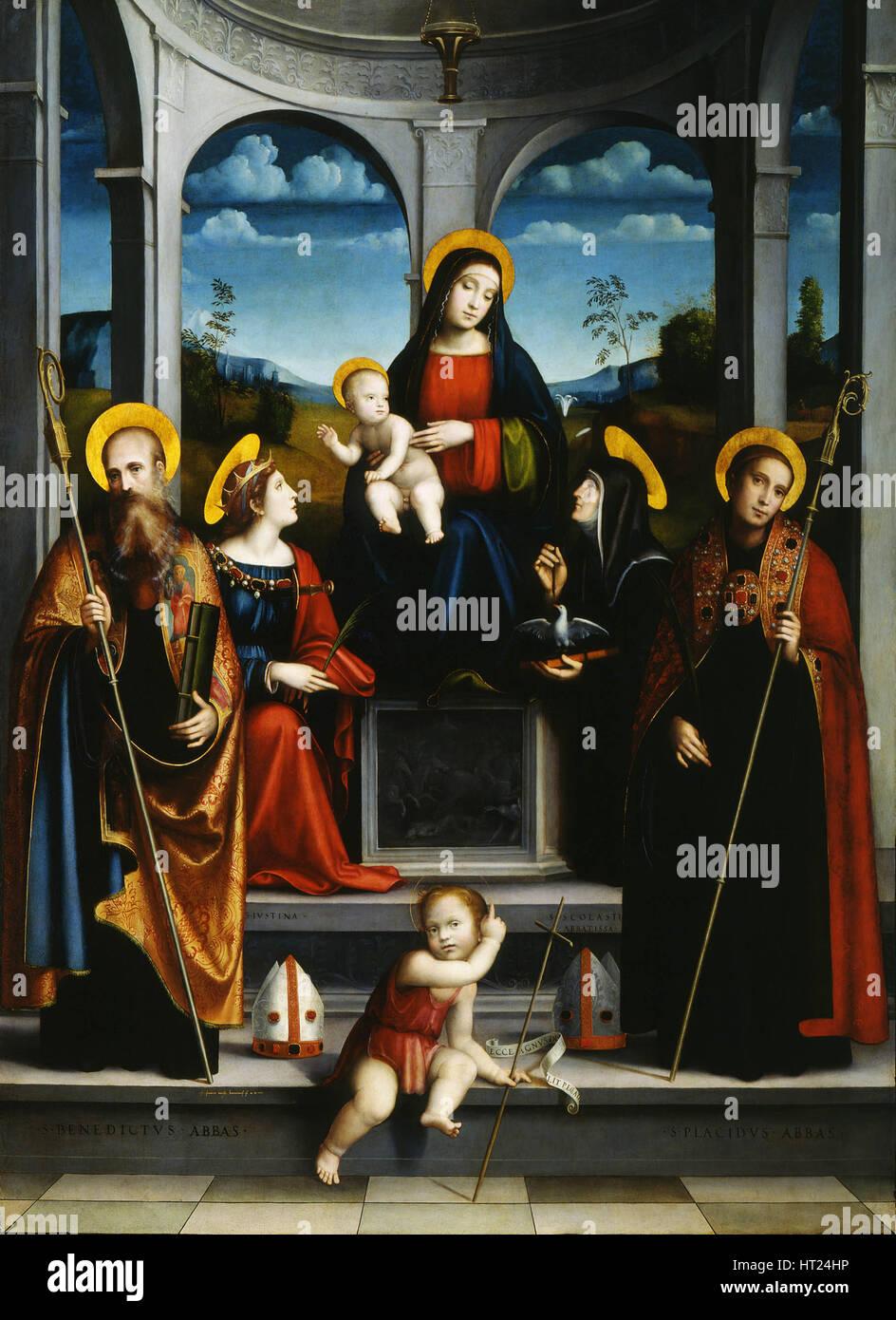 Vergine con Bambino e i Santi Benedetto, Justina, Placidus e scolastica, ca 1515. Artista: Francia, Francesco (1450 Immagini Stock