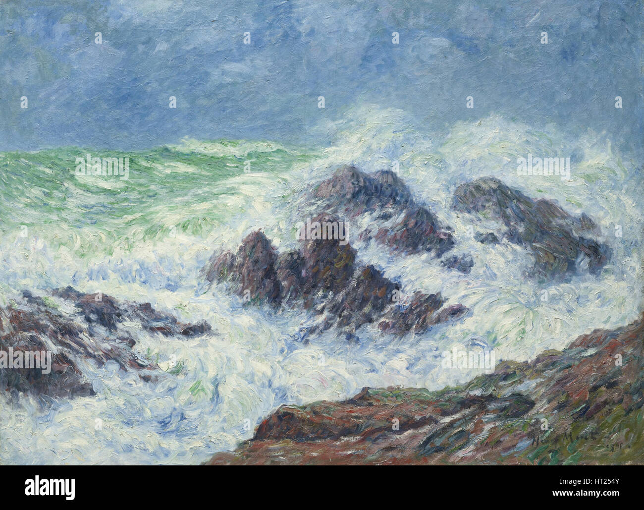 Heavy Weather a Saint Grenoble, Pointe de Penmarch, 1905. Artista: Moret, Henry (1856-1913) Immagini Stock