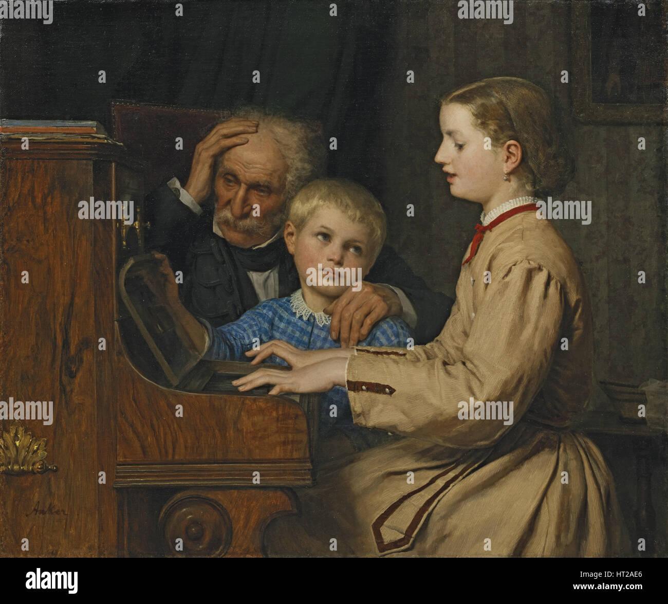 Canzone della patria, 1874. Artista: Anker, Albert (1831-1910) Immagini Stock
