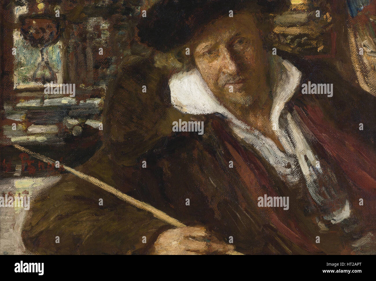 Autoritratto, 1917. Artista: Repin, Ilya Yefimovich (1844-1930) Immagini Stock
