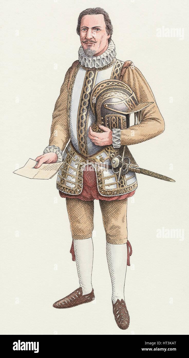 Un Cornish gentleman c1600, c2000-2010) Artista: Nick Hardcastle. Immagini Stock