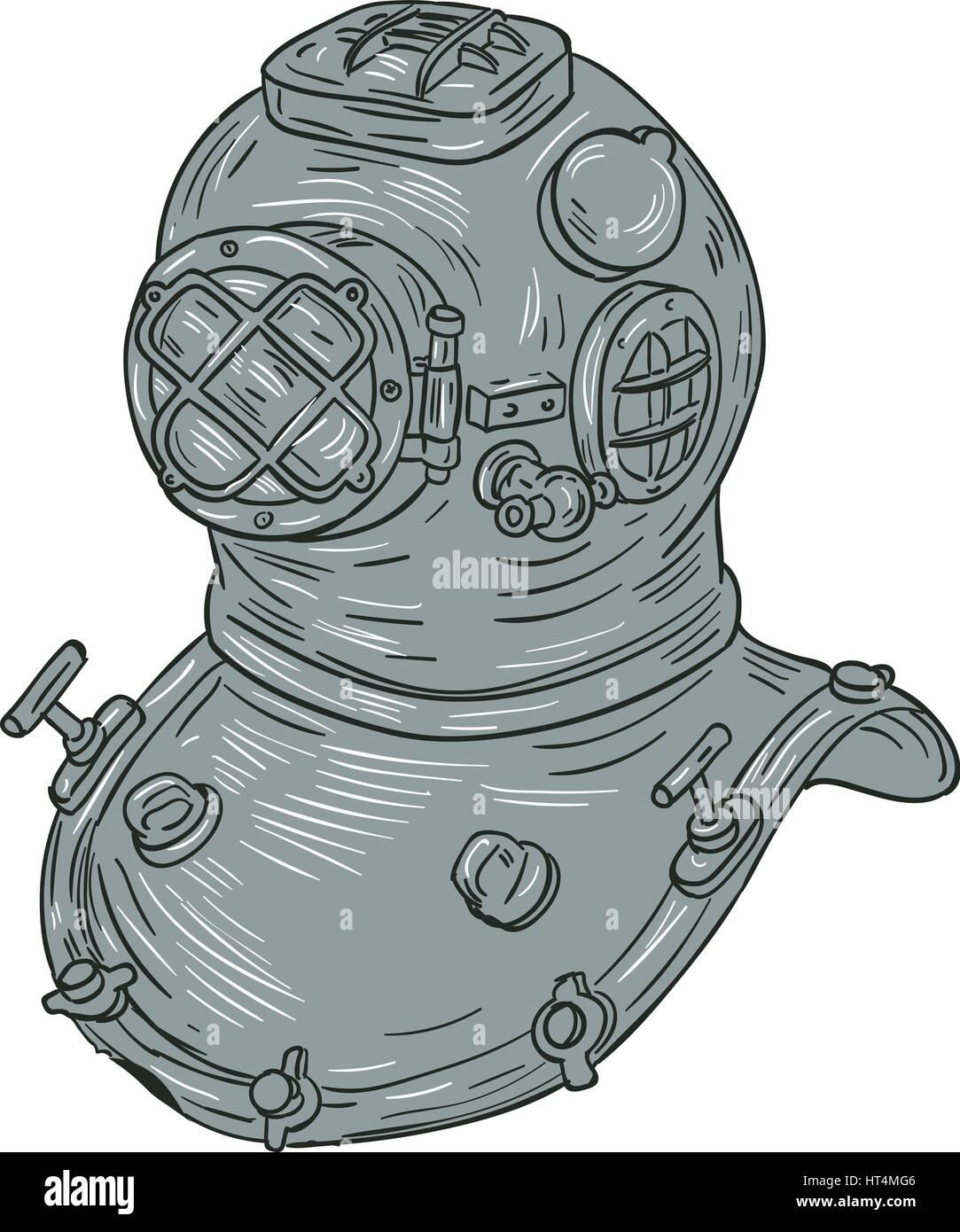 Schizzo di disegno illustrazione dello stile di rame e ottone old school deep sea diving immersioni casco o standard Immagini Stock
