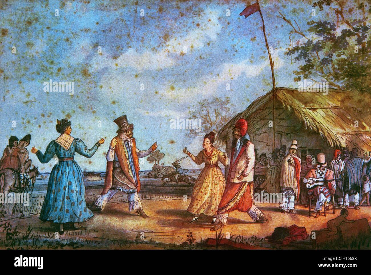 """Folklore. Argentina. Buenos Aires. Xix secolo. Danza tradizionale """"Cielito'. Litografia di un acquerello Immagini Stock"""