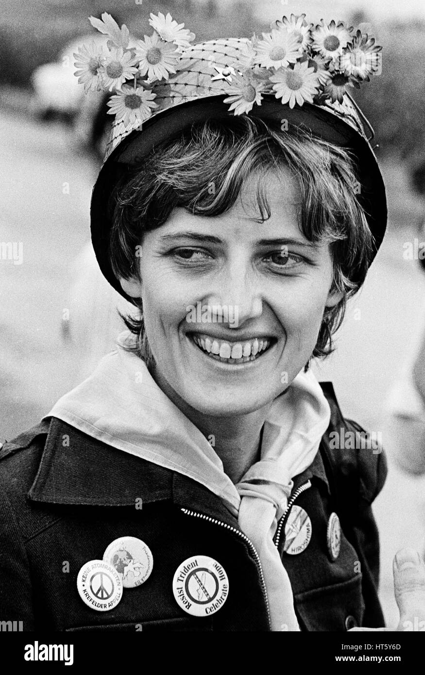 Mutlangen, Germania, 01.sett1983: PETRA KELLY (* 29 novembre 1947, probabilmente † 1 ottobre 1992), co-fondatore Immagini Stock