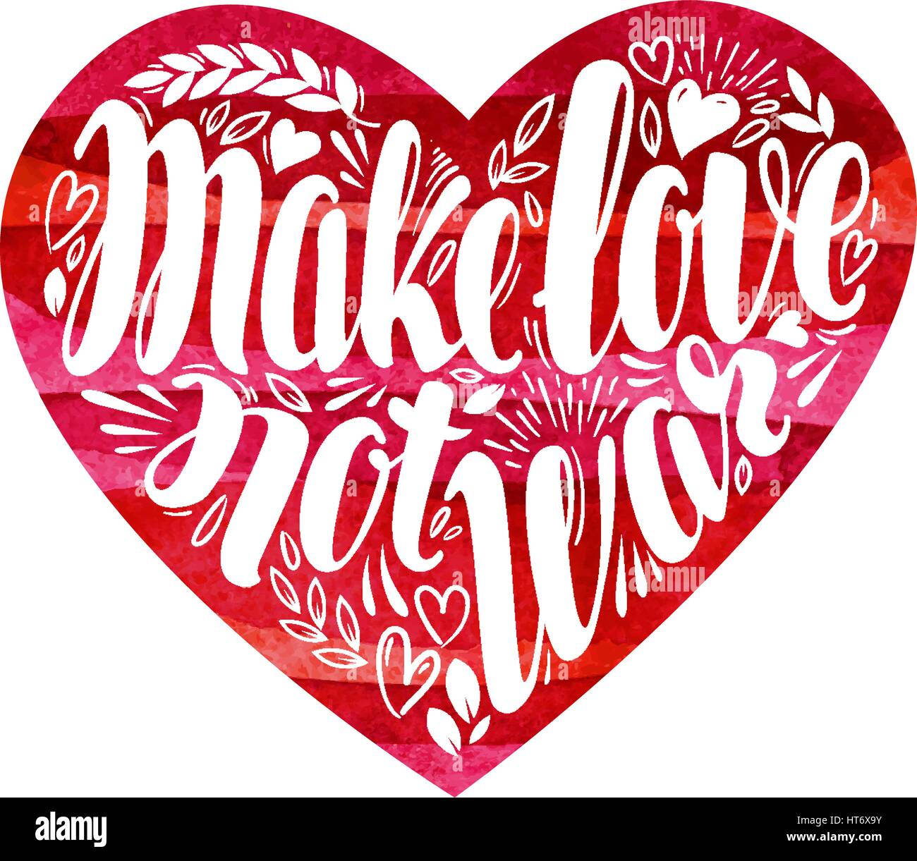 Fare l'amore non la guerra, etichetta. Lettering decorativo, calligrafia in forma di cuore. Hippie, il pacifismo Immagini Stock