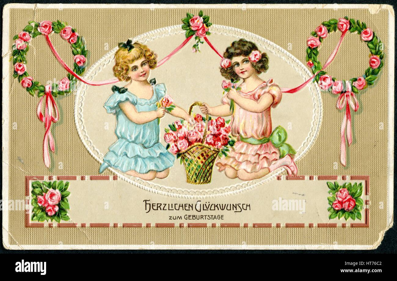 Mazzo Di Fiori In Tedesco.Una Cartolina Di Auguri Stampato In Germania Mostra Due Felice