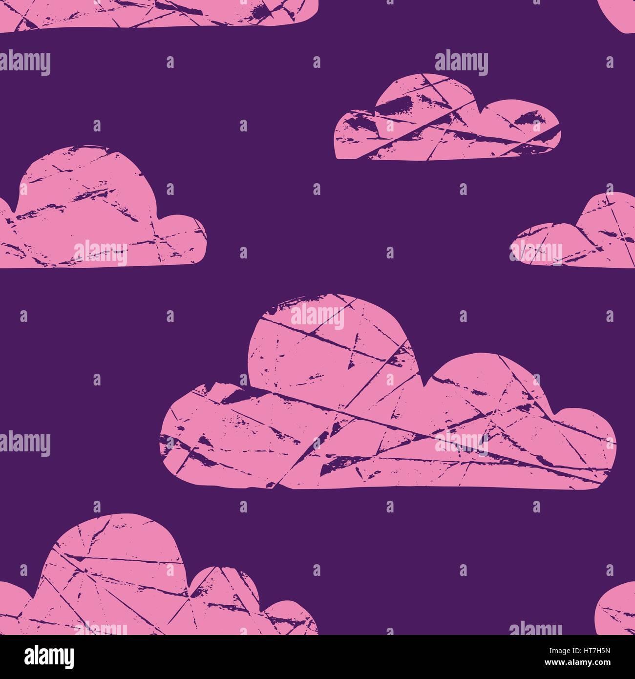 Carino seamless pattern con semplice disegnato a mano le nuvole testurizzata Immagini Stock