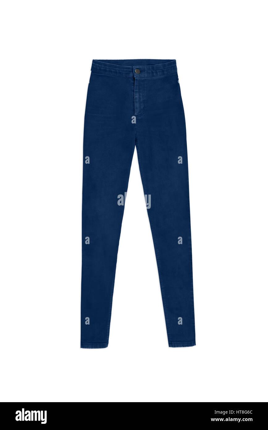 Donna blu scuro skinny high waist jeans pantaloni, isolati