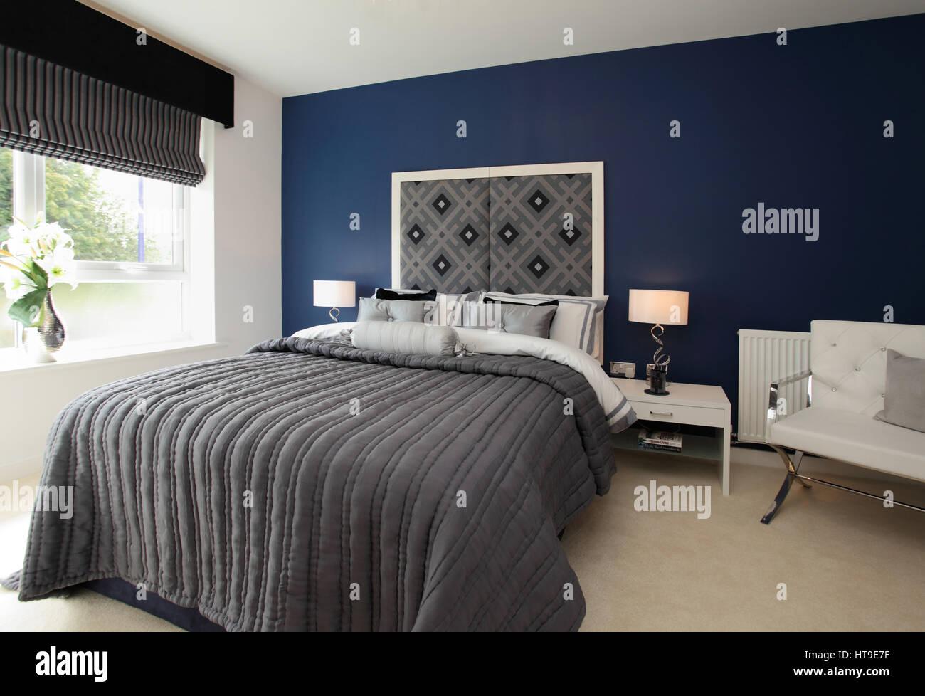Home interno, camera da letto, blu, arredamento, copriletto ...